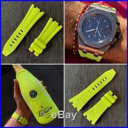 Acid Green Yellow rubber strap for 42mm Audemars Piguet Royal Oak Offshore