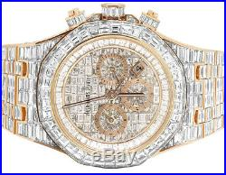 Audemars Piguet Royal Oak 18K Rose Gold Chrono Baguette Diamond Watch 78.75 Ct