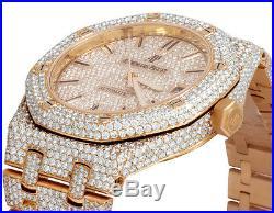 Audemars Piguet Royal Oak 18K Rose Gold Midsize 37MM Diamond Watch 22.35 Ct