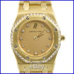 Audemars Piguet Royal Oak 18k Yellow Gold And Diamond Bezel Quartz Womens Watch