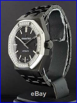 Audemars Piguet Royal Oak Black ADLC PVD 37mm Factory Diamond Bezel Ref. 15451ST
