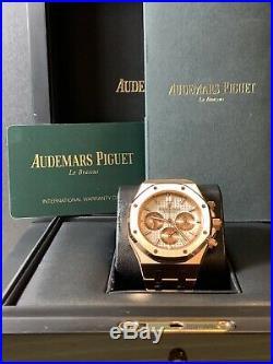 Audemars Piguet Royal Oak Chronograph Mens 38mm 18k Rose Gold White Dial 26315OR