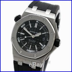 Audemars Piguet Royal Oak Offshore Diver 15703. ST Black Dial Steel Box Papers