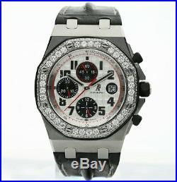 Audemars Piguet Royal Oak Offshore watch chronograph 42MM leather diamond 4.25CT