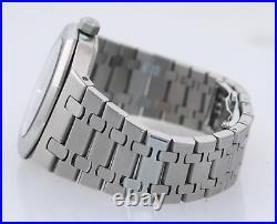 MINT Audemars Piguet Royal Oak Black Stick Dial 39mm Steel 15300 Date Watch Box
