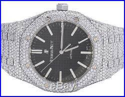 Mens 41MM Audemars Piguet Royal Oak Stainless Steel VS Diamond Watch 31.5 Ct