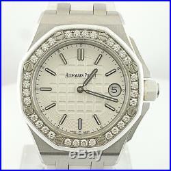 Rare Audermars Piguet Royal Oak Offshore White Rubber Strap Diamond Quartz Watch